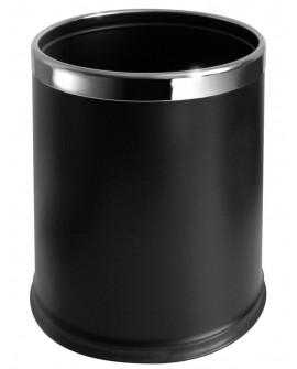 Corbeille simple paroi 10L noire effet cuir