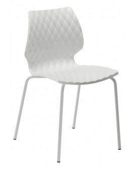 Chaise Uni 550 coque blanche pieds acier vernis blanc