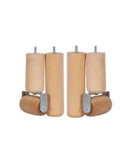 Jeu de 2 pieds cylindriques et 2 rouleaux à moquette avec ou sans frein